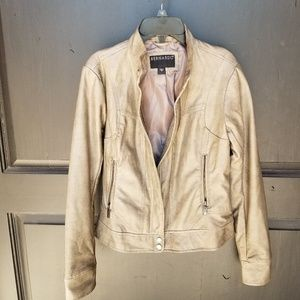 VEGAN FAUX LEATHER TAUPE JACKET SZ SMALL